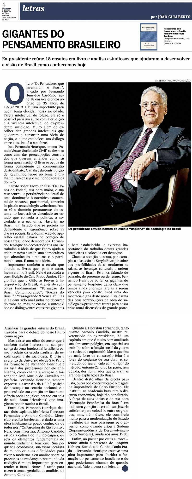 Gigantes do Pensamento Brasileiro: Fernando Henrique Cardoso - por João Gualberto